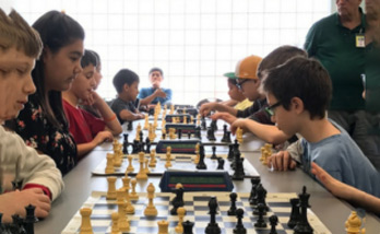 Players at the Southwest Branch Library Chess Club